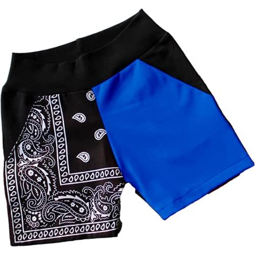 Pantalones Cortos para Mujer Pantalones Cortos de Playa Deportivos Informales con Estampado de Retazos de Verano Europeo y Americano Pantalones Cortos de Tendencia de Moda XL