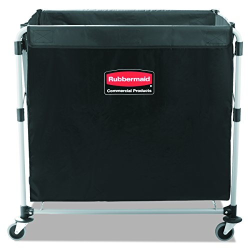 Rubbermaid Commercial Collapsible X-Cart, Steel, 8 Bushel Cart, 36' L x 7' W x 34' H, Black (1881750)