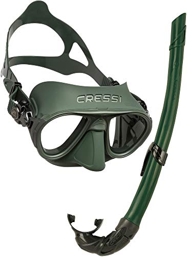 Cressi Combo Set Calibro & Corsica Maschera Sub Calibro e Snorkel Corsica, Unisex Adulto, Verde/Verde, Taglia Unica