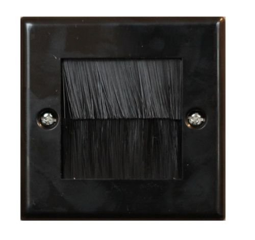 electrosmart Black Single Gang Brush Strip Wallplate/Wall Plate/Faceplate Cable Tidy for Wall Mounted Plasma TV etc (Quantity 1)