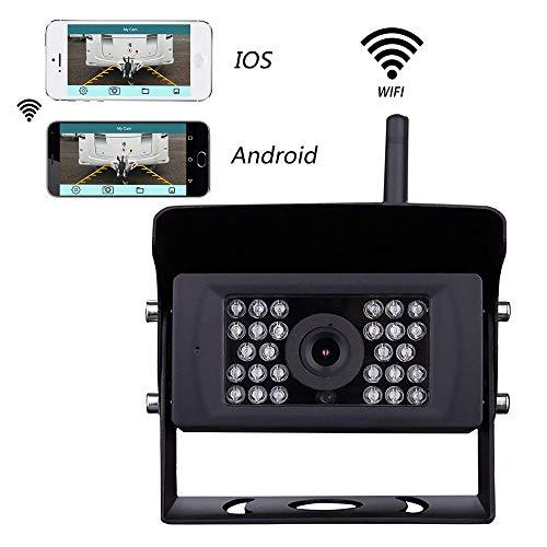 Podofo Caméra de Recul WiFi 12V-24V Caméra de Surveillance sans Fil Etanche Vision de Nuit pour Remorque, VR, Bus, Camions, Camions, Van, Autobus Scolaire, Compatible iPhone (iOS) et Android