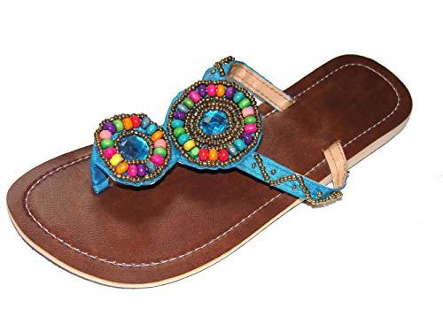 Damen Flip Sandale Samba Zehenpantolette Sommersandale Zehenstegsandale mit bunten Holz-Perlen, sowie Perlen in Gold