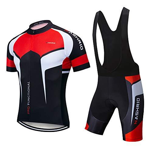 NASHRIO Men's Cycling Jersey Set Bicycle Short Sleeve Set Quick-Dry Breathable Shirt+3D Cushion Shorts Padded Pants/Bib Short