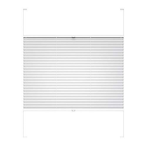 Victoria M. COSIFLOR Plissee auf Maß VS2 für Fenster und Türen, 301-400 mm Breite x 301-400 mm Höhe, Weiß, Montage in der Glasleiste mit Spannschuh