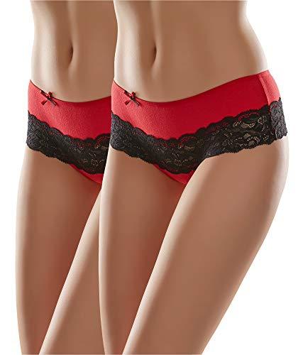 Merry Style Damen Unterhose MSGAB96 (Rot/Schwarz (2Pack), 38 (Herstellergröße: M))