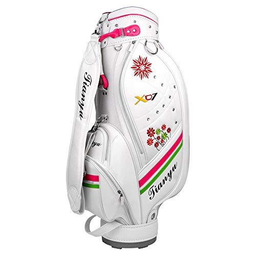 Golf Cartbag, wasserdichte PU-Golftasche-Damen-tragbare Reise-Fall-Golf-Tragetasche Wasserdichtes und tragbares praktisches weißes Golf-Zubehör (Farbe : Weiß, Größe : 89 * 38 * 20cm)