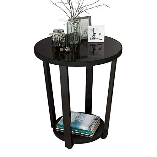 Moderna möbler Soffbord Glasskiva Balkong Litet soffbord Vardagsrum Soffsida Liten rund multifunktion, 505057 cm Slutbord Sidobord Nattduksbord (Färg: Vit)