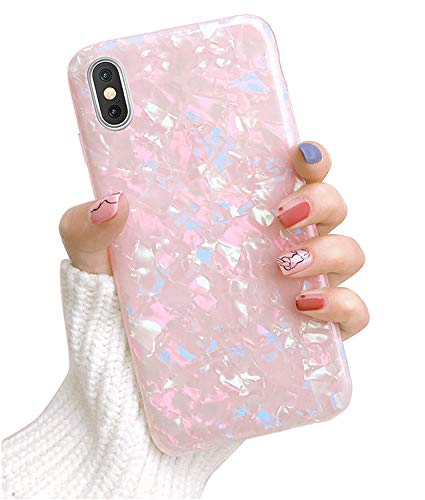 Dailylux iPhone XR Case,Cute Phone Case for Girls Women Glitter Pretty Design Protective Slim Shockproof Pearly-Lustre Shell Bumper Soft Silicone TPU Cover for iPhone XR 6.1 inch 2018,Colorful