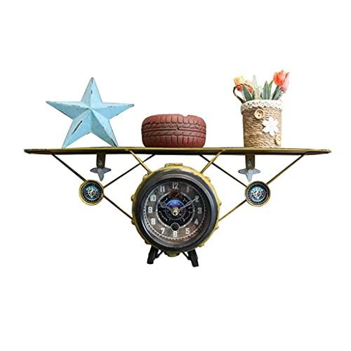 DGHJK Retro Amarillo Avión Reloj de Pared Almacenamiento de Viento Industrial Estante Antiguo/Estante Decorativo Vintage Sala de Estar Dormitorio/Dormitorio/Reloj de Mesa de Estudio - 50~40