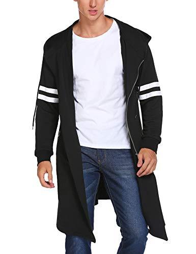 Coofandy Men's Fashion Long Hooded Outwear Hoody Sweatshirt Teenager Hoodies,Black,Small