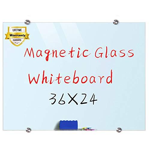 Glass Whiteboard, 3'x 2' Glass Board Magnetic Dry Erase Board on Wall Frameless
