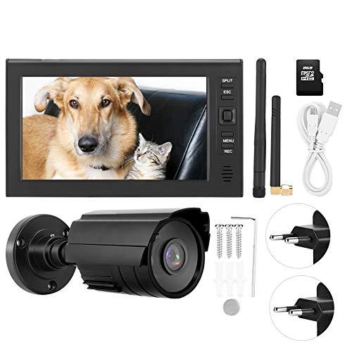 Sistema de cámara CCTV inalámbrica 7 Pulgadas LCD inalámbrico WiFi 4CH Sistema de Monitor de Seguridad Pantalla + Cámara 1pc Cámaras IR + Tarjeta TF(EU Plug)