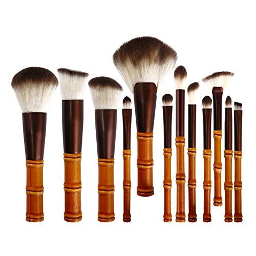 ZXIAOMEI Maquillage naturel Bambou Brosse 12 pinceaux de maquillage professionnel, Fondation Correcteur Fond de teint liquide fard à paupières Maquillage mixte Set et pochette