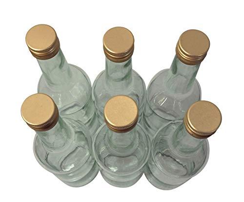 Destillatio 6 x sterke drank fles 0,5 liter - fles met gouden schroefdeksel - helder glas