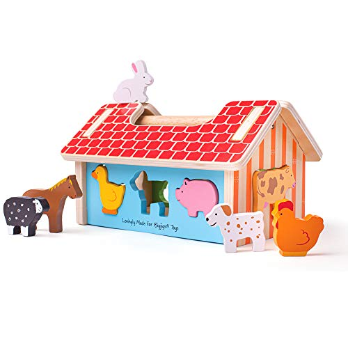 Bigjigs Toys Farm House Shape Sorter - Classic Wooden Toy with 8 Animal Shapes