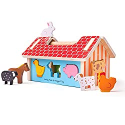 Farmhouse Sorter. Age 1+ years. Consists of 11 play pieces. Height: 165mm, Width: 260mm, Depth: 140mm. Made from high quality, responsibly sourced materials.