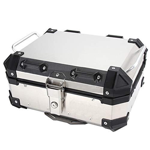 LUKUCEA Topcase Motorradkoffer, Alu-Koffer Monokey Top case 28L universal Wasserdicht und kollisionssicher für Roller, Motorrad, Mofa & Quad,Silber