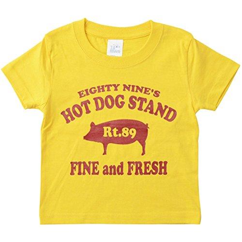 (ジーンズバグ)JEANSBUG キッズ Tシャツ 89's HOT DOG オリジナル ホットドッグ 豚 モチーフ プリント親子 お揃い 子供服 KDT-HOTDOG 90 バナナ(369)