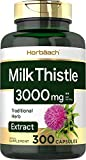 Milk Thistle Extract | 3000mg | 300 Capsules | Non-GMO, Gluten Free Supplement | by Horbaach