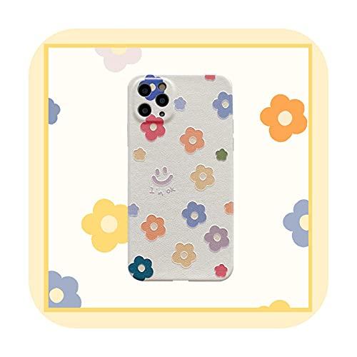 Linda historieta sonriente flor coreana teléfono caso para el iPhone 12 11 Pro Max X Xs Max Xr 7 8 Puls SE 2020 Carcasas cuero suave cubierta A-para iPhone 11 Promax
