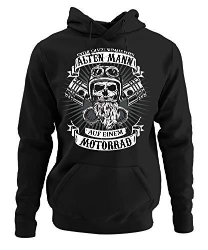 Camiseta y jersey de metal para hombre, con texto en inglés 'Niemals eine Antiguo hombre en una motocicleta' 7. Sudadera con capucha. M