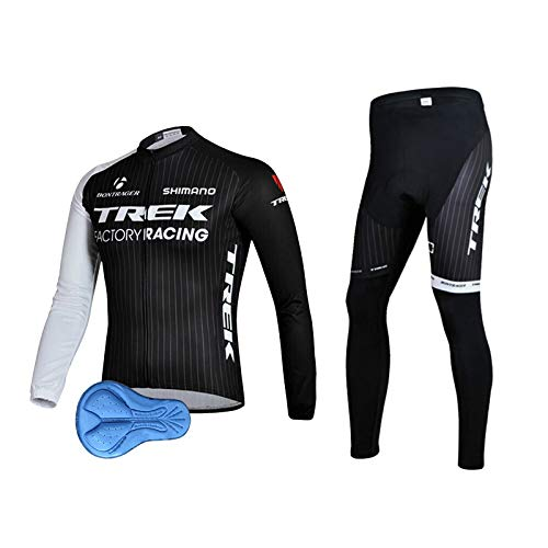 XM Herren Radbekleidung Set Langarm Radanzug mit 3D Silikon Gepolsterten Atmungsaktiv und schnell trocknend für MTB Outdoor (Schwarz und weiß, XL)