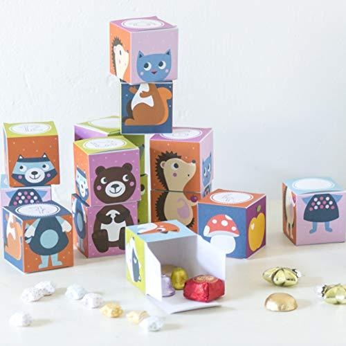 Julica Calendario dell'Avvento da riempire per bambini, 24 scatole da impilare e giocare, set fai da te + etichetta regalo Bonus