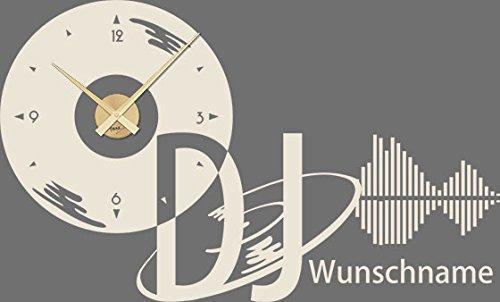 GRAZDesign 800246_GD_816 Wandtattoo Uhr Name | Wanduhr Wunschname DJ mit Schallplatte Equalizer | Klebefolie Selbstklebend (94x57cm//816 Antique White//Uhrwerk Gold)