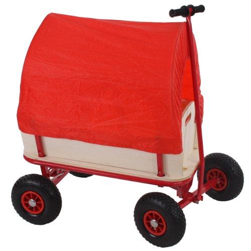 Mendler Bollerwagen Handwagen Leiterwagen Oliveira ~ ohne Sitz, mit Bremse, Dach rot