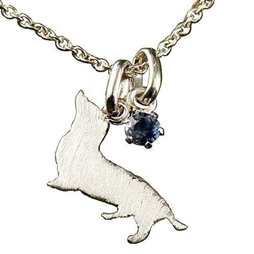 [アトラス] Atrus ネックレス メンズ 10金 ホワイトゴールドk10 ブルーサファイア 犬 ダックスフンド ペンダント トップ 9月誕生石 チェーン(sv925シルバー)
