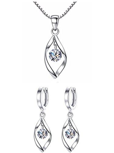 Damen-Schmuckset Krone Halskette Anhänger + Ohrstecker, S925 Silber (Mauerwerk)