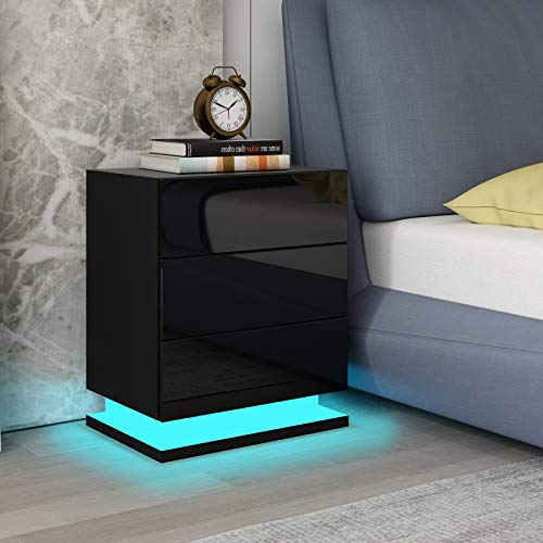 UNDRANDED Modern Bedside table chest of 3 drawers High Gloss RGB LED Lights Nightstand Unit Bedroom Furniture - Black