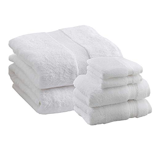 Charisma Hygro Cotton Towels Bundle | Includes: 2 Luxury Bath Sheet Towels, 2 Hand Towels & 2 Washcloths | Quality, Ultra Soft Towel Set | 6 Pieces (White)