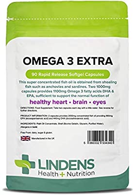 Omega 3 Fish Oil Extra 1000mg (22% DHA / 33% EPA) 90 Capsules