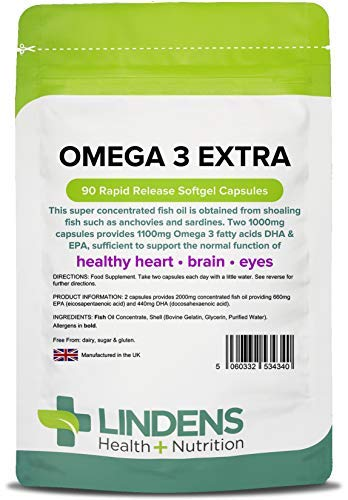 Lindens Omega 3 Extra Fish Oil 1000mg Capsules - 90 Pack - 1100mg Omega 3 Fatty Acids Dha & Epa Per 3 Capsules and Supports Normal Function of Healthy Heart, Brain & Eyes - UK Manufacturer, Letterbox Friendly