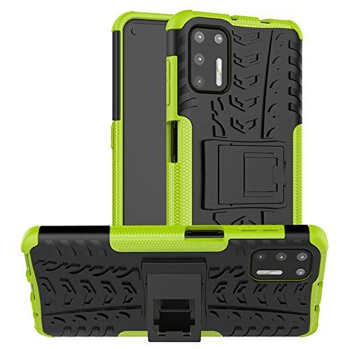 LiuShan Compatible con Moto G9 Plus Funda,Silicona Híbrida Rugged Armor Soporte Cáscara de Cubierta Protectora de Doble Capa Caso para Motorola Moto G9 Plus Smartphone(Not fit Moto G9 Play),Verde