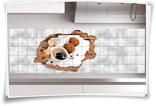 Medianlux Fliesen-Bild Wand-Durchbruch 3D Fliesen-Aufkleber Muffins Kaffee-Tasse Brot Kaffee-Bohnen, 150x100cm, 20x25cm (BxH)