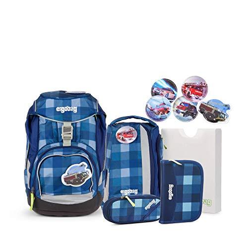 Ergobag Pack KaroalaBär - Blau, ergonomischer Schulrucksack, Set 6-teilig, 20 Liter, 1.100 g, Blau