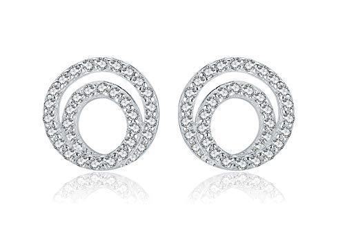 Sterling Silver Earrings,Hypoallergenic & Nickel Free Spiral Studs for women Girls Sensitive Ears