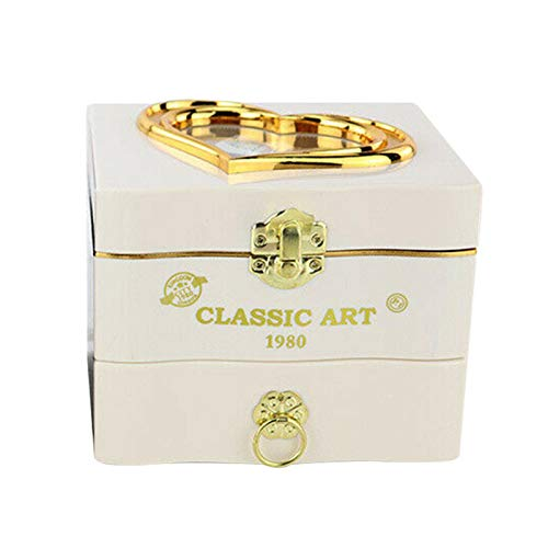 SALATEILY Caja de música de madera, cajas musicales y figuras, caja de almacenamiento de joyería de bailarina giratoria para niña, caja de música de madera grabada para regalo para niños