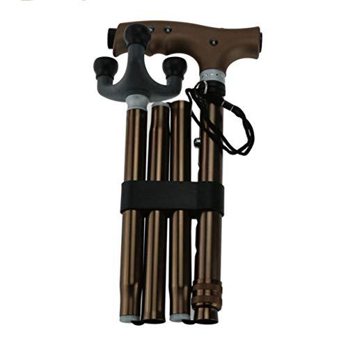 SHUJIE Muletas Aleación de Aluminio Caña Plegable para Hombres y Mujeres Lámpara telescópica Plegable de Cinco Secciones Masaje Comodidad para Mayores T Manija Bronce NN
