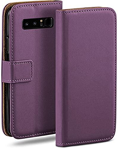 moex Klapphülle für Samsung Galaxy Note8 Hülle klappbar, Handyhülle mit Kartenfach, 360 Grad Schutzhülle zum klappen, Flip Hülle Book Cover, Vegan Leder Handytasche, Lila