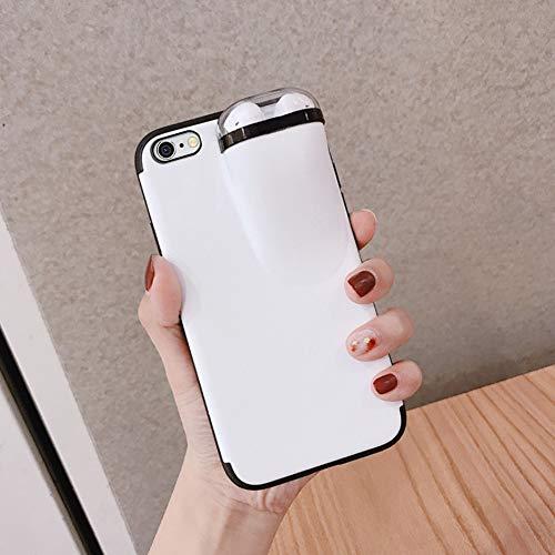 Ysimee Premium Silikon Handyhülle kompatibel mit iPhone 6/ iPhone 6S, Ultra Dünn Hülle Mit Aufbewahrungsbox für Bluetooth-Kopfhörer, Stoßfest Schutz Backcover Weich Telefon-Kasten, Weiß