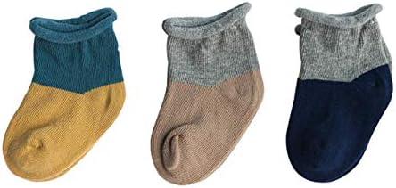 DEBAIJIA 3 Pares de Calcetines de Algodón para Bebés Infantes Niños Respirable Encantador Color de Empalme de 1-3 años para Niño Niña Recién Nacido - Amarillo Marrón Azul Marino