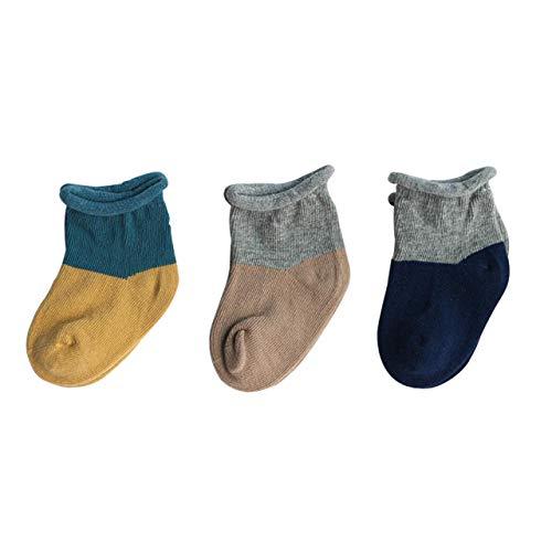 DEBAIJIA 3 Pares de Calcetines de Algodón para Bebés Infantes Niños Respirable Encantador Color de Empalme de 0-12 meses para Niño Niña Recién Nacido - Amarillo Marrón Azul Marino