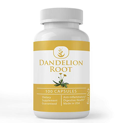 Dandelion Root (100 Capsules) 100% Pure & Natural, No Fillers, Non-GMO, Made in USA (470 mg Serving)