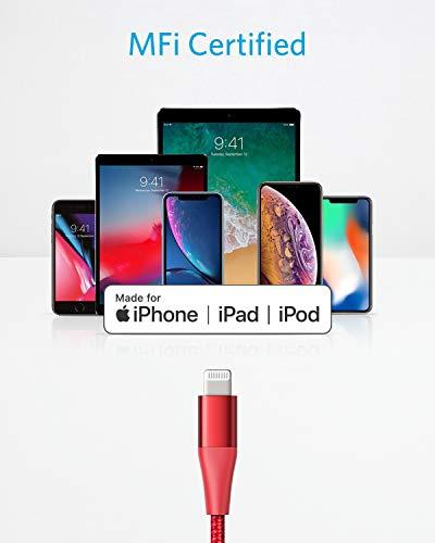 Anker Powerline+ II USB-C auf Lightning Kabel, 180cm lang, Nylon-umflochtenes Ladekabel für iPhone X/XS/XR/XS Max / 8/8 Plus, unterstützt Power Delivery (für Typ-C Ladegeräte) (Rot)