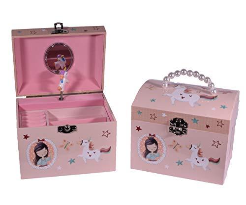 Giftland GR Einhorn-Spieluhr, kuppelförmig, mit Perlengriff, Geschenk für Ihre Brust, Schmuckaufbewahrung