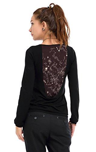 3Elfen Longsleeve Damen Frauen Langarm T-Shirt schwarz Rückenausschnitt Casual Longshirt mit Galaxy...