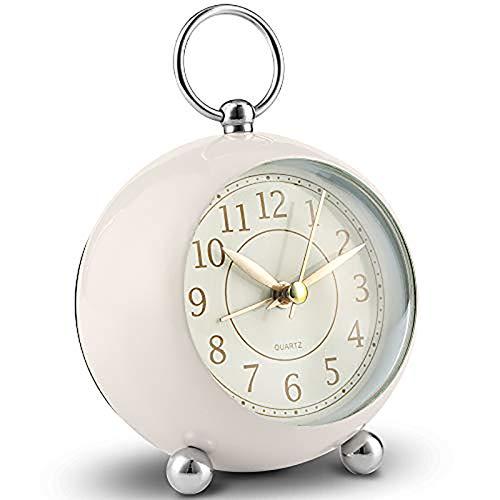 Relojes de cabecera silenciosos Reloj de Escritorio sin tictac con Pilas Reloj Despertador analógico Dormitorio Reloj Despertador Retro Reloj Despertador Vintage Simple con luz
